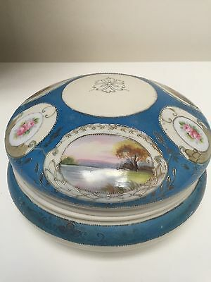 "Noritake Antique Large 8"" Round Hand Painted Powder/Dresser Box & Lid"