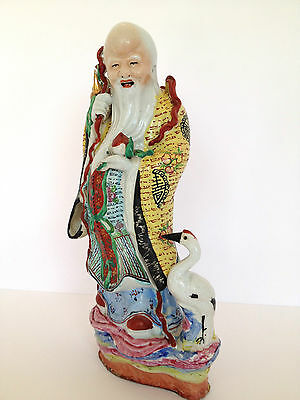 Antique Fine Chinese Porcelain Shou Lao Xing Immortal Statue - 14""