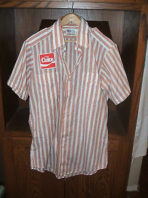Coca Cola Vintage Work Shirt Colored Striped Square Patch Riverside USA