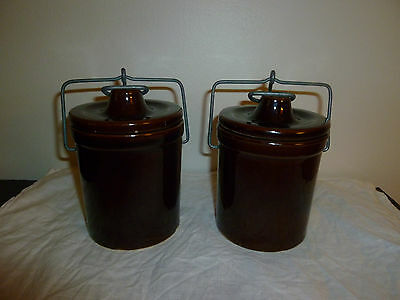 Set of 2 Vintage Glazed Stoneware Canisters, New England Style Wire Bail Tops