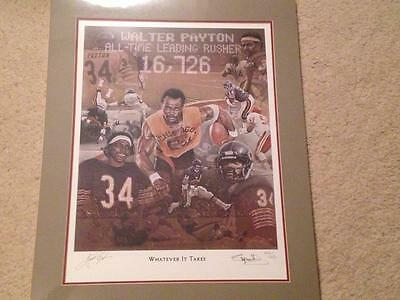 Walter Payton Bears Hof Signed 22X28 Whatever It Takes Lithograph Litho Jsa Loa