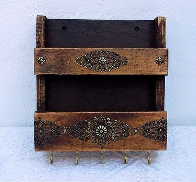 Rustic Wood Wall Mail Holder and Key Rack, Entryway Organizer, Moroccan Decor