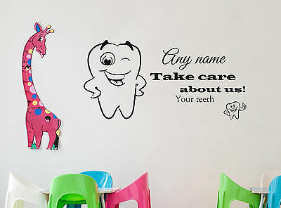 Personalised Teeth Care Any Name Wall Sticker Decal Kids Bathroom Bedroom Decor