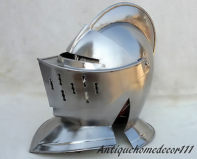 NEW Medieval European Closed Knights Armor Helmet Helm Full Size Wearable LARP