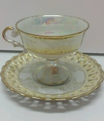 Vintage Bone China Pedestal Footed Tea Cup Saucer Iridescent Gold Reticulated PR