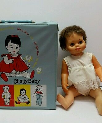 CHATTY BABY CATHY BABY DOLL Brunette Blue Eyes, CASE, TINY BABY CLOTHES, EXTRAS!