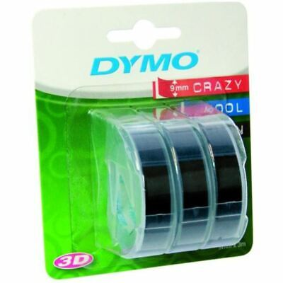 Dymo 3D Embossing Labels White On Black Tape 9mm Water Resistant Pack of 3