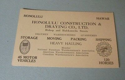 1930's Honolulu Hawaii Construction & Draying Company Advertising Card 120 Horse