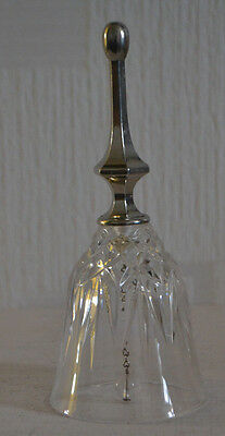 Beautiful Cut Glass  Bell With White Metal Handle / Top Quality /
