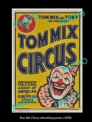 OLD LARGE HISTORIC PHOTO OF COWBOY TOM MIX CIRCUS ADVERTISING POSTER c1930 5