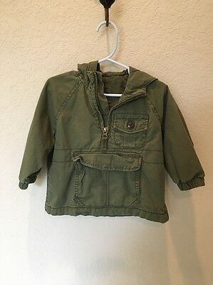 Baby Gap Anorak Jacket Green Hooded Lined Sz 12-18 M
