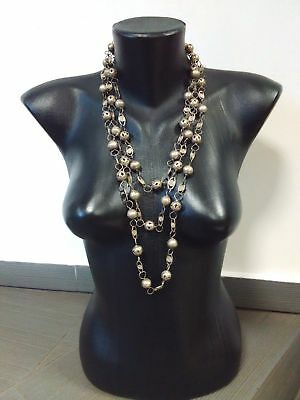 Antique Old Handmade Silvered Necklace With A Total Length Of 80.31 In. 204 Cm.