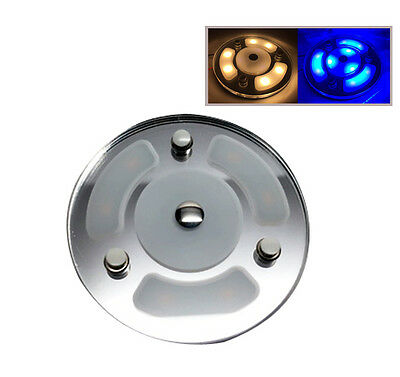 """Pactrade Marine RV Car 4""""  Blue White LED Ceiling Courtesy Light  Touch Switch"""