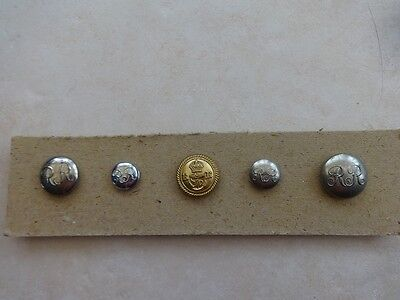 A Collection of 5 Rhodesia Railways Buttons.