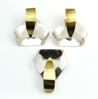 Taxco Mexico Sterling Silver/925 Modernist Runway Two Tone Pin/Brooch & Earrings