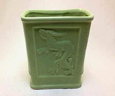 Vintage RRP CO. Roseville Ohio No.272 Green Dragon Pottery Vase