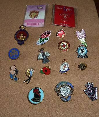 Job Lot Of Metal And Enamel Badges, Red Cross, Cumbria Constabulary, Legion, Etc