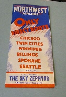 1937 Northwest Airlines Timetable Sky Zephyr Airplane Brochure Travel Route Map