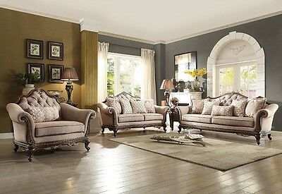 Traditional Style Brown Fabric 3Pc Living Room Set Sofa Loveseat Chair  Furniture