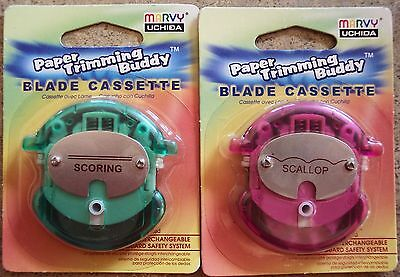 CHOOSE 1: Marvy Uchida SCALLOP or SCORING BLADE CASSETTE for Paper Trimming Budd