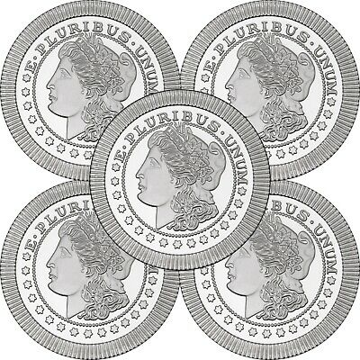 Morgan Dollar Stackables by SilverTowne 1oz .999 Silver Medallion (5pc)