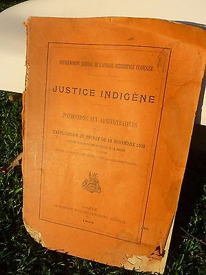 Livre Document Justice Indigene Colonie Afrique Occidentale Francaise 1905