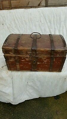 small antique domed pine trunk/restoration