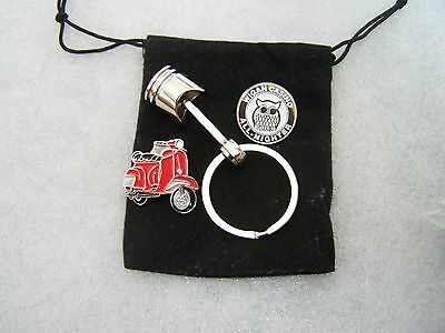 Northern Soul Pin Badge and Scooter Piston Keyring and Scooter Pin in Gift Pouch