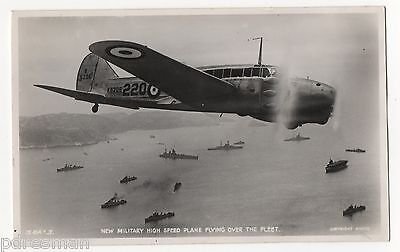 """"""" New Military High Speed Plane Flying Over Fleet  """"vintage Real Photo Postcard."""