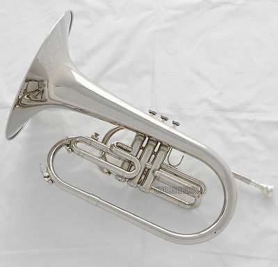 Professional Silver Nickel Marching Mellophone F Key horn Monel Piston With Case