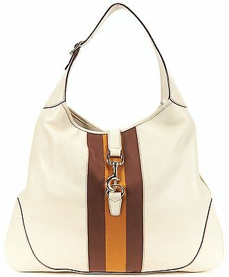 GUCCI Authentic Ivory Leather Brown Canvas Stripe Hobo Shoulder Bag