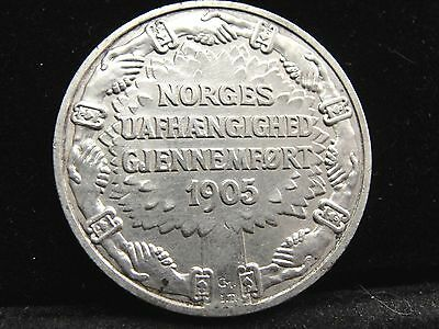 1906 Norway 2 Kroner Silver Coin Looks XF Km #363