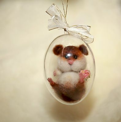 OOAK Needle Felted Miniature hamster in crochet cup handmade gift