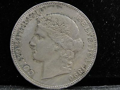 1890 Switzerland 5 Francs Silver Coin Looks XF Km #34