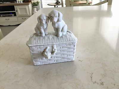 Antique beautiful French Porcelain Biscuit Box