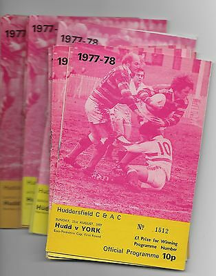 Collection Of 1977 Huddersfield Rugby League Programmes England