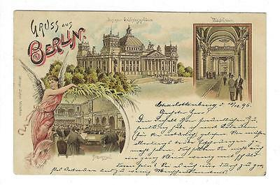 """1896 Germany Picture Postcard - """"Greetings From Berlin"""" (#I7)"""