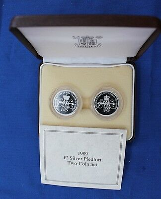 """1989 Silver Piedfort Proof £2 set """"Bill & Claim"""" in Case with COA  (X5/51)"""