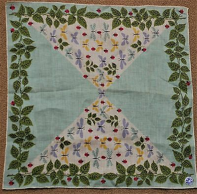Vintage Handkerchief Hanky With Ladybugs and Dragonflies