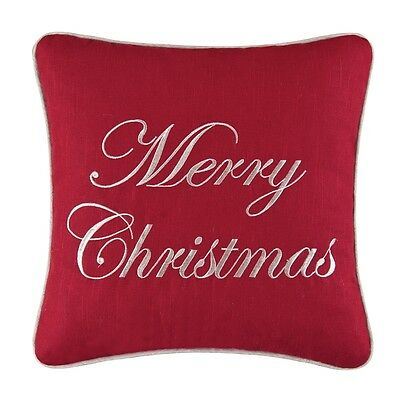 """Embroidered """"merry Christmas"""" Holiday 16"""" Linen / Cotton Pillow"""