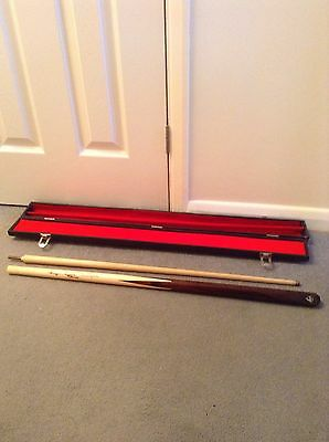 snooker cue and case signed