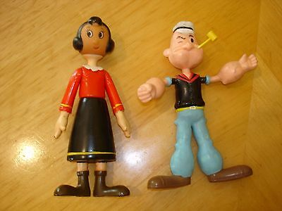 Popeye & Olive Oyl Pair King Features Hard Plastic 1976 &1989 Free Shipping
