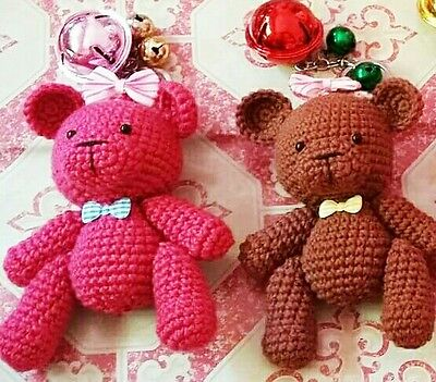 2pcs Cute Bears Handmade Crochet Doll Keychain with bell size 5""