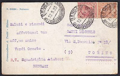 Postcard sent from Benghazie Libya to Italy 1923