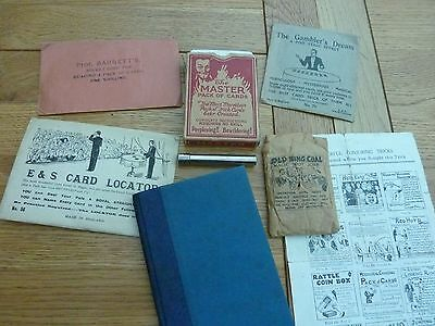 COLLECTION VINTAGE 1930s MAGIC TRICKS & HAND WRITTEN BOOK OF TRICKS