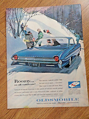 1961 Oldsmobile Super 98 Ninety Eight Ad  Skiing Sleding Winter Fun