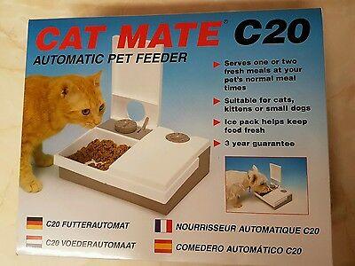 Cat Mate C20 Automatic 2 Meal Pet Feeder For Cats And Small Dogs - White