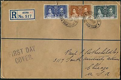 Gold Coast 1937 Coronation registered Accra FDC to USA