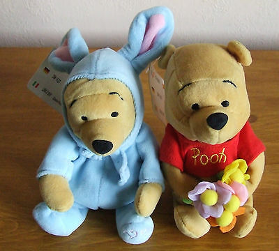 Two Disney Winnie Pooh Beanie Soft Toys - Easter Bunny Pooh, Mother's Day Pooh