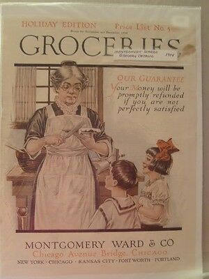 Vintage Montgomery Ward Grocery Catalog Cover Page Printed Advertising 1914